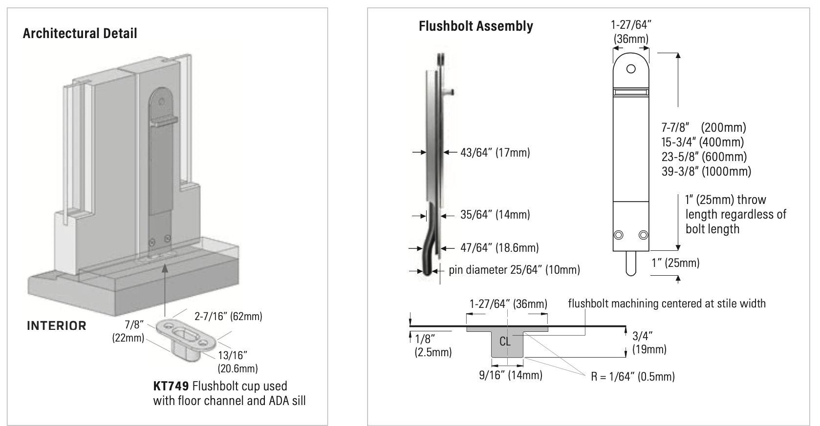 Rail n Stile Bi-Fold Doors architectural detail and flushbolt assembly